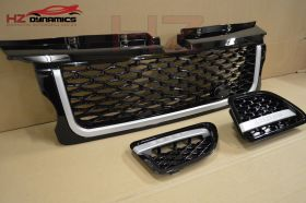 GLOSS BLACK SILVER GRILL VENT FIT RANGE ROVER SPORT 2005 2009 AUTOBIOGRAPHY