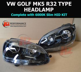VW Golf MK5 R32 Type Xenon BLACK Headlights + HID KIT