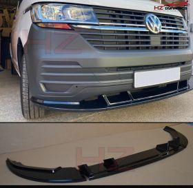 GLOSS BLACK 3 PIECE FRONT BUMPER LIP SPITTER FITS VW TRANSPORTER T6.1