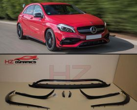 A45 LOOK GLOSS BLACK FRONT BUMPER LIP SPOILER FOR MERCEDES A CLASS W176 2015 2017