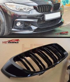 GLOSS BLACK KIDNEY GRILL GRILLE DOUBLE SLAT FOR BMW 4 SERIES F32 F33 F36 F82