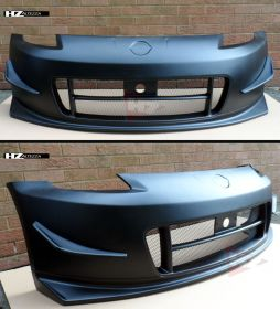 N2 FRONT BUMPER WITH CANARDS FOR NISSAN Z33 350Z BLACK PRIMED MESH