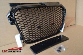 RS1 LOOK GLOSS BLACK GRILL FULL MESH FITS 2010 2014 AUDI A1 S1