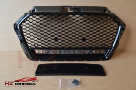RS3 QUATTRO LOOK GLOSS BLACK GRILL FULL MESH FITS 2016 2019 AUDI A3 S3