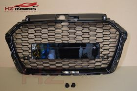 RS3 LOOK DEBADGED GLOSS BLACK GRILL FULL MESH FITS 2016 2019 AUDI A3 S3