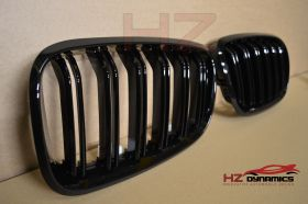 DOUBLE SLAT GLOSS BLACK KIDNEY GRILL GRILLE FOR BMW X5 E70 X6 2007 2014