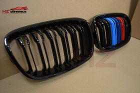 DOUBLE SLAT M COLOUR KIDNEY GRILLS GRILLE FOR BMW 1 SERIES F20 F21 2011 TO 2014