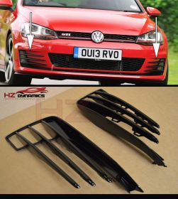 GLOSS BLACK FOG LIGHT COVERS GRILL SET FIT VW GOLF MK7 GTi GTD 2013 2017