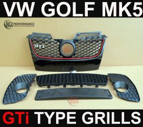 VW Golf MK5 04-08 GTi Type Front Bumper Grill Set