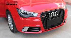 RS1 LOOK FRONT FOG LIGHT COVER GRILLE GLOSS BLACK SILVER FOR AUDI A1 2011 2014
