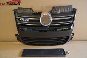 R32 Look Gloss Black Front Grill FOR VW Golf MK5 2005 2008
